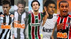 Fotos: Neymar: AFP | Bernard: Bruno Cantini/Atlético-MG | Fred: Divulgação/Fluminense | Paulinho: AFP | Lucas: Divulgação/SPFC. Montagem: Lucas Vian