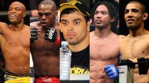Fotos: Silva: Divulgação/UFC | Jones: Divulgação/UFC | Barão: MMA Junkie | Henderson: MMA Weekly | Aldo: Divulgação/UFC. Montagem: Lucas Vian