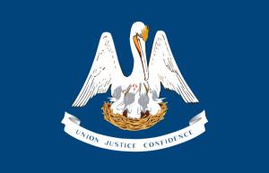 A bandeira de Louisiana com o pelicano.
