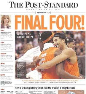 A capa do The Post-Standard, de Syracuse, Nova York traz a vitória do Orange na capa. (Foto: Reprodução)