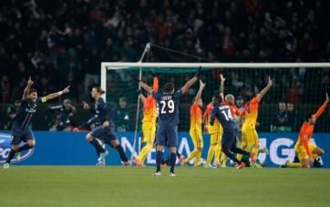 Franceses comemoram o empate após o gol irregular de Ibrahimovic (Foto: AP)