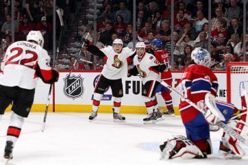 (Senators comemoram um dos gols da classificação rumo ao título da Stanley. Foto: Divulgação/NHL)