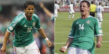 Giovani dos Santos e Chicharito são os destaques mexicanos (Fotos: Edgard Garrido e Jorge Cabrera/Reuters)