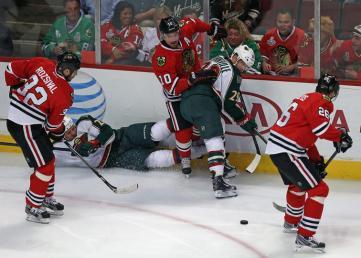 (Nas quartas, o Minnesota Wild foi abafado por Chicago. Foto: Divulgação/NHL)