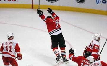 (A equipe de Detroit foi a única que chegou perto de eliminar Chicago. Mesmo assim, os Wings caíram no game 7. Foto: Divulgação/NHL)