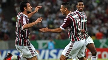 Fred (esq.) e Samuel (dir.) comemoram o gol do Flu (Foto: Divulgação Fluminense)