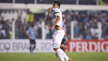 Gabriel marcou o gol da vitória e se consagrou (Foto: Ricardo Saibun/Reprodução Site Oficial Santos FC)