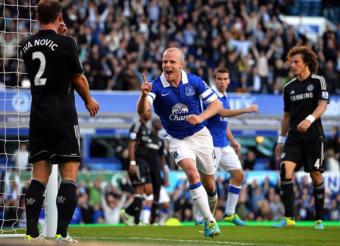 O escocês Naismith marcou o gol da vitória do Everton sobre o Chelsea. (Foto: AFP)