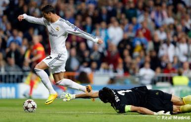 Cristiano Ronaldo na jogado do primeiro gol. Ele é o artilheiro do campeonato com 6 gols marcados. (Foto: Divulgação/Site Oficial do Real Madrid)