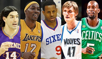 Scola, Howard, Iguodala, Kirilenko e Garnett. (Fotos: Getty Images)