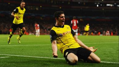 Lewandowski fez o gol da vitória do Borussia contra o Arsenal (Foto: Getty Images)