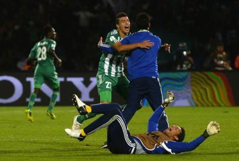 Após a semifinal, jogadores do Raja já comemoravam muito pelo feito histórico de ir a final (Foto: Divulgação/FIFA)